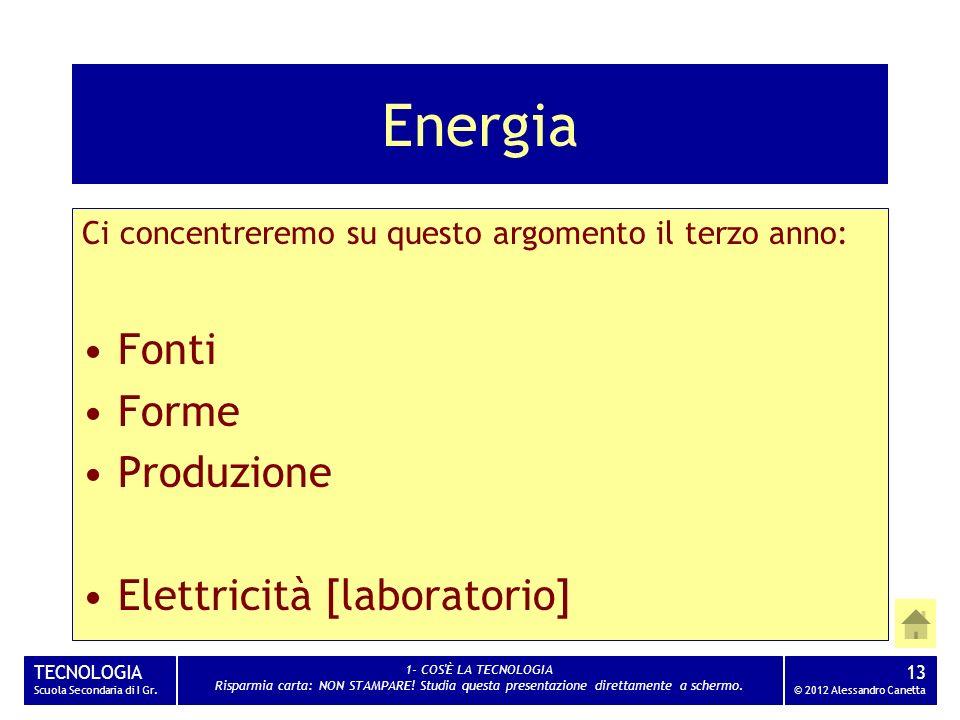 Energia Fonti Forme Produzione Elettricità [laboratorio]